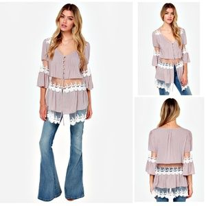 Lavender Taupe Lace Panel Boho Tunic Top NEW